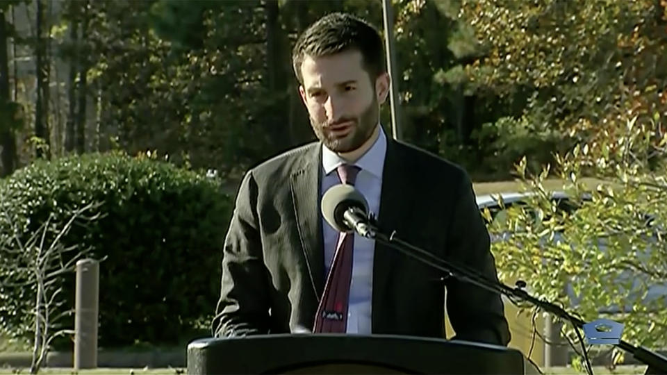 Acting Assistant Secretary of Defense for Special Operations and Low-intensity Conflict, Ezra Cohen speaks at the at the Special Operations Memorial Plaza in Fort Bragg, N.C. on Nov. 18, 2020. (DOD)