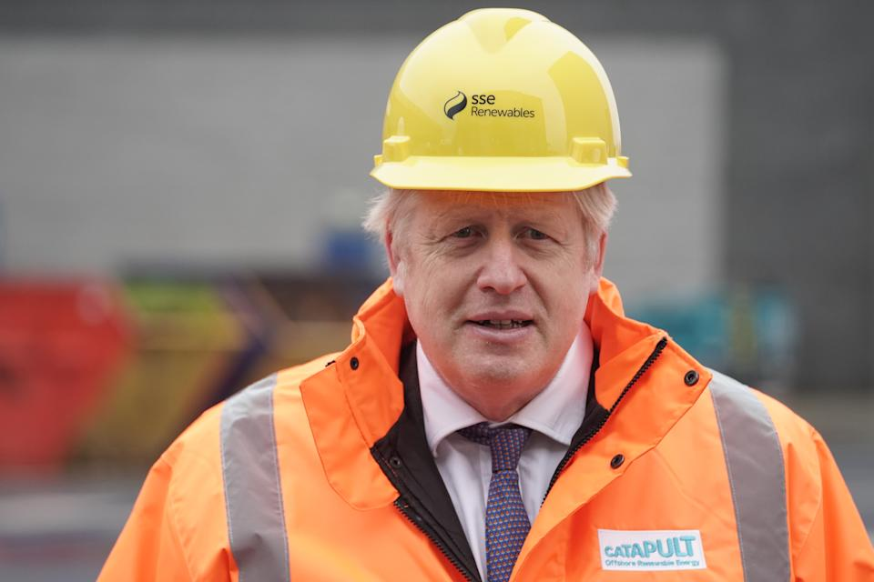 Prime Minister Boris Johnson during a visit to the National Renewable Energy Centre in Blyth, Northumberland. (Photo by Owen Humphreys/PA Images via Getty Images)