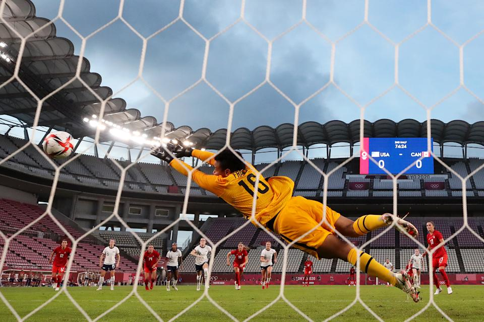 <p>KASHIMA, JAPAN - AUGUST 02: Adrianna Franch #18 of Team United States fails to save a penalty from Jessie Fleming #17 of Team Canada as she goes on to score her side's first goal during the Women's Semi-Final match between USA and Canada on day ten of the Tokyo Olympic Games at Kashima Stadium on August 02, 2021 in Kashima, Ibaraki, Japan. (Photo by Naomi Baker/Getty Images)</p>
