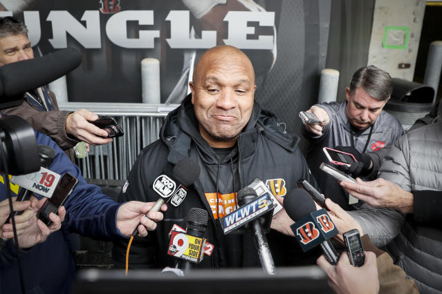 FILE - In this Nov. 14, 2018, file photo, Cincinnati Bengals special assistant Hue Jackson speaks to reporters before NFL football practice at Paul Brown Stadium in Cincinnati. Hue Jackson got only three wins with the Browns in his three seasons. Now he's trying to help coach Marvin Lewis and the Bengals beat his former team, which fired him only three weeks ago. (AP Photo/John Minchillo, File)