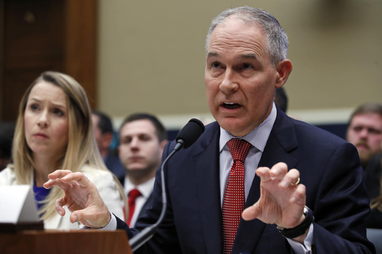 EPA chief Scott Pruitt, accompanied by Holly Greaves, EPA chief financial officer, testifies about the EPA budget during a hearing of the House Energy and Commerce subcommittee Thursday on Capitol Hill. (Photo: Alex Brandon/AP)