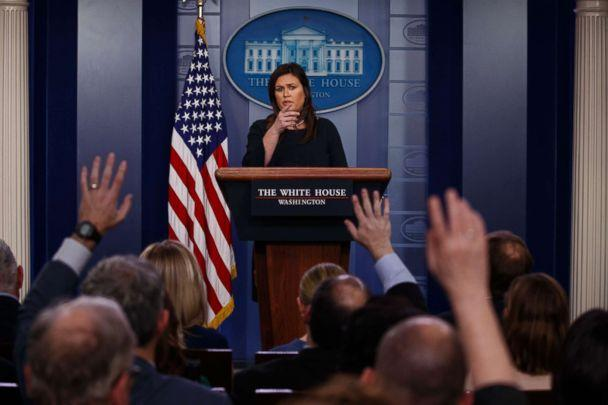 PHOTO: White House press secretary Sarah Sanders speaks during a press briefing at the White House, March 11, 2019. (Evan Vucci/AP, FILE)