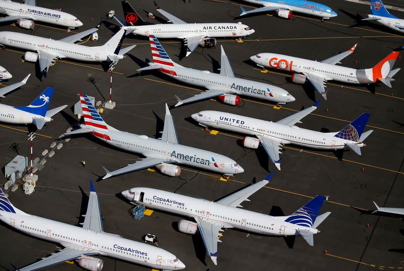 FILE PHOTO: FILE PHOTO: Grounded Boeing 737 MAX aircraft are seen parked at Boeing Field in Seattle