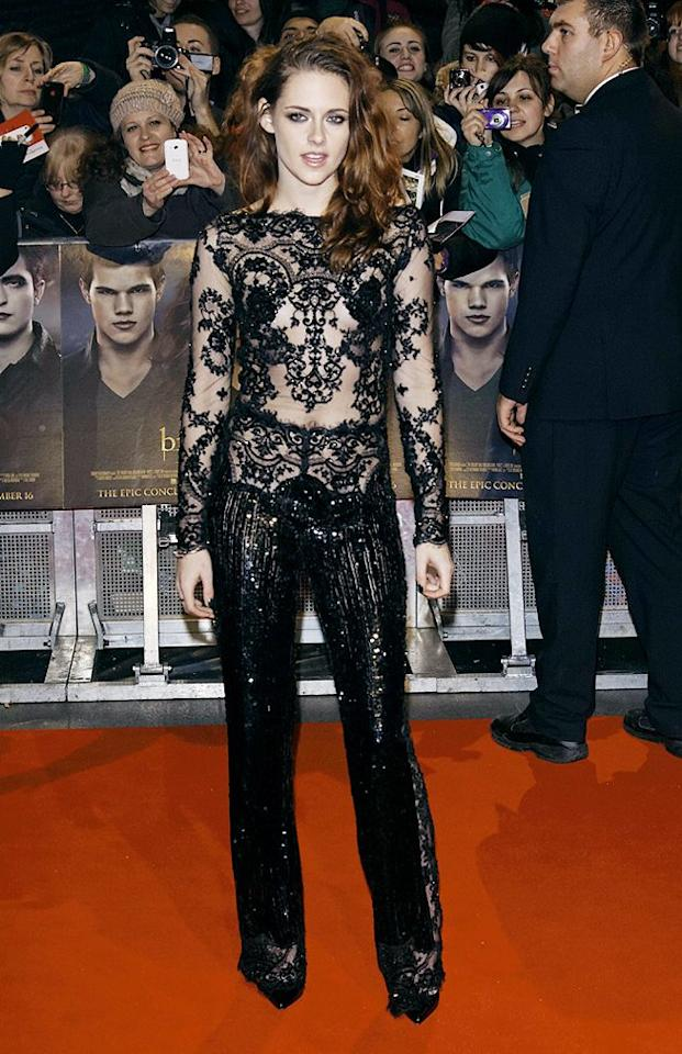Two days later, Kristen was back in the spotlight (and back in Zuhair Murad!) at the European premiere of her soon-to-be blockbuster. Call us crazy, but we think this sequined jumpsuit is one of the coolest -- if not the coolest -- looks we've seen hit the red carpet in quite some time. (11/14/2012)