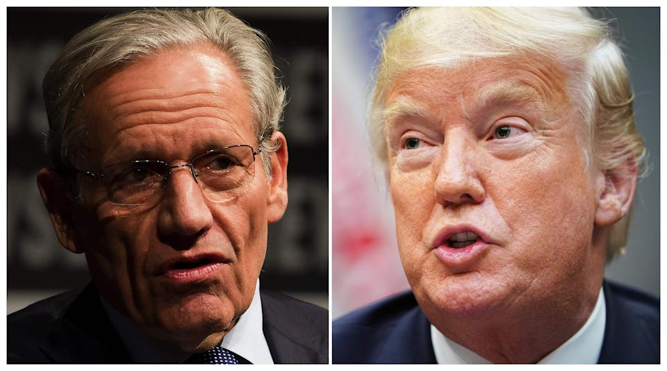 Famed journalist Bob Woodward, left, in 2012 and former President Donald Trump, right, in 2018. Trump has been the subject of numerous books by the Washington Post journalist.