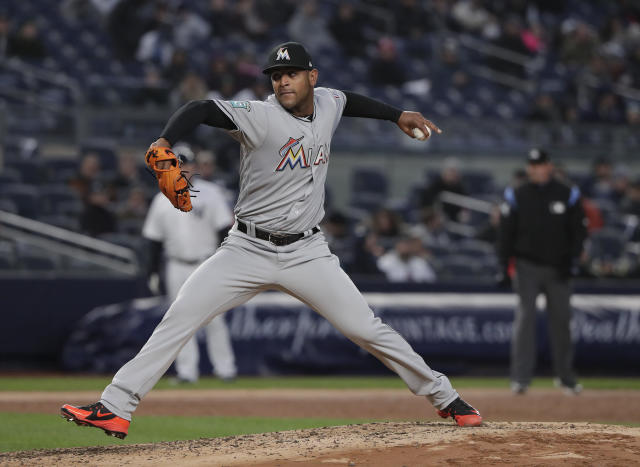 Miami Marlins pitcher Jarlin Garcia delivers against the New York Yankees during the third inning of a baseball game Tuesday, April 17, 2018, in New York. (AP Photo/Julie Jacobson)