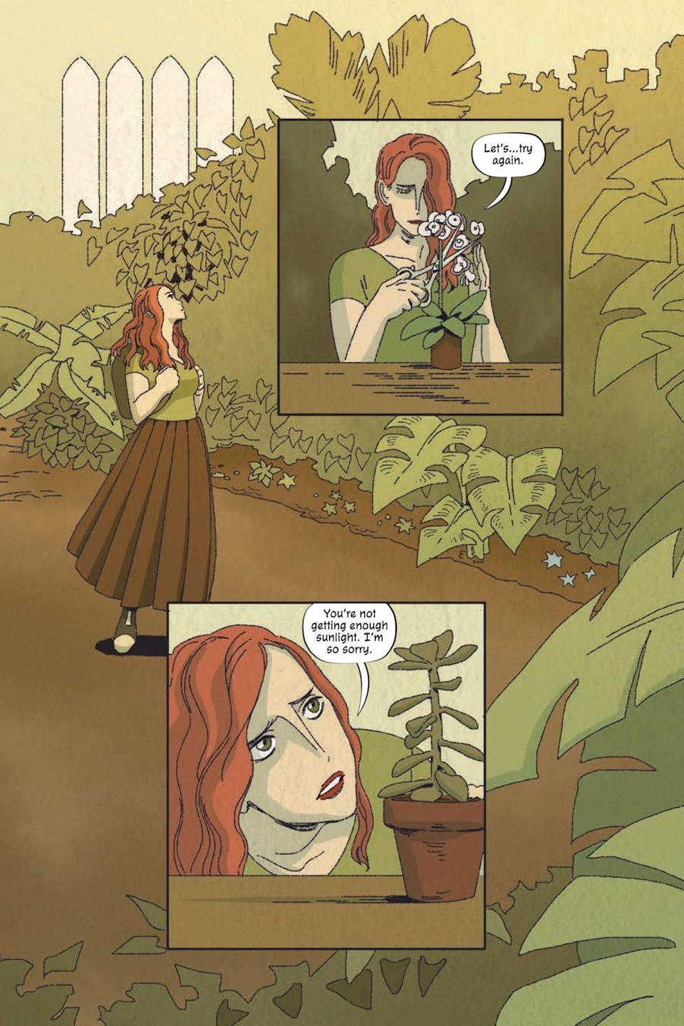 A page from Poison Ivy Thorns shows Ivy in the school garden tending flowers