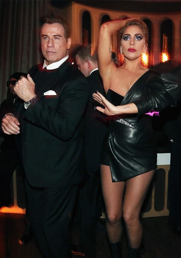 Lady Gaga and John Travolta at Interscope's Grammy AfterParty at Peppermint Club. Photo: Getty Images