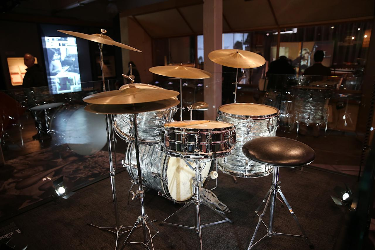 <p>Charlie Watts' 1965 Ludwig Sky Blue Pearl – Keystone Badge. From late 1965 until mid-1968, Charlie used this drum kit on most of the band's studio recording and live performances. (Gordon Donovan/Yahoo News) </p>