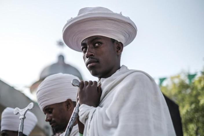 An Ethiopian Orthodox priest at the ceremony
