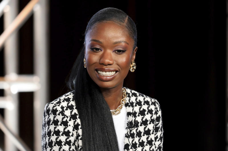 "FILE - In this Thursday, Jan. 16, 2020, file photo, Xosha Roquemore speaks at the OWN: Oprah Winfrey Network's ""Cherish the Day"" series panel during the Discovery Network TCA 2020 Winter Press Tour in Pasadena, Calif. The series, airing 10 p.m. EST Tuesday, follows a Los Angeles couple's relationship over eight episodes that span five years. Roquemore and Alano Miller star in the network's first anthology series, created by filmmaker and TV producer Ava DuVernay. (Photo by Willy Sanjuan/Invision/AP)"