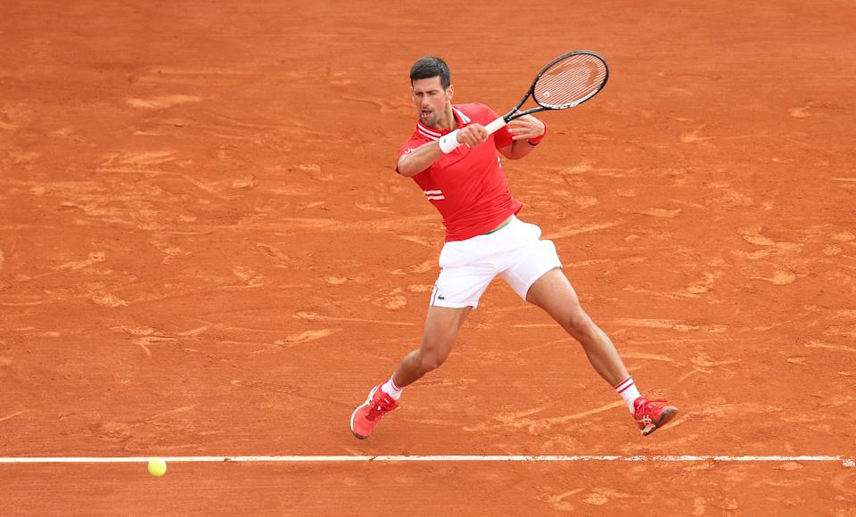 MONTE-CARLO, MONACO - APRIL 14: Novak Djokovic of Serbia plays a forehand shot during their Round 32 match against Jannik Sinner of Italy during day four of the Rolex Monte-Carlo Masters at Monte-Carlo Country Club on April 14, 2021 in Monte-Carlo, Monaco. (Photo by Alexander Hassenstein/Getty Images)