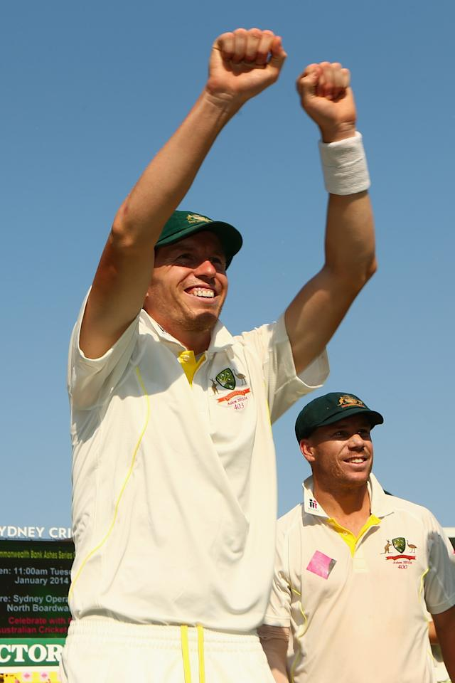 SYDNEY, AUSTRALIA - JANUARY 05: Peter Siddle of Australia signals to the crowd after winning the Ashes series 5-0 during day three of the Fifth Ashes Test match between Australia and England at Sydney Cricket Ground on January 5, 2014 in Sydney, Australia.  (Photo by Cameron Spencer/Getty Images)