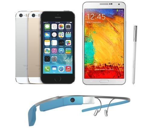 iPhone 5s, Galaxy S3, and Google Glass