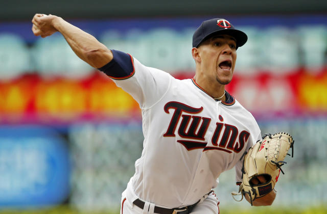 Minnesota Twins' pitcher Jose Berrios throws against the Houston Astros in the fourth inning of a baseball game Thursday, May 2, 2019, in Minneapolis. (AP Photo/Jim Mone)