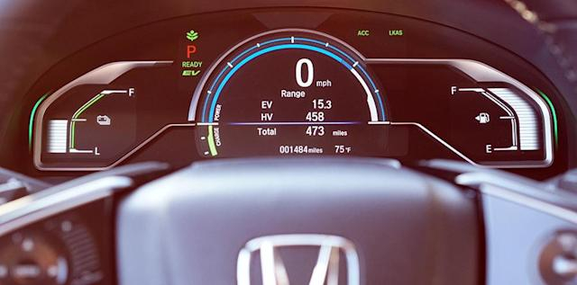 "In a plug-in hybrid, you have two ""fuel gauges"" one each for battery charge (left) and gas level (right)."