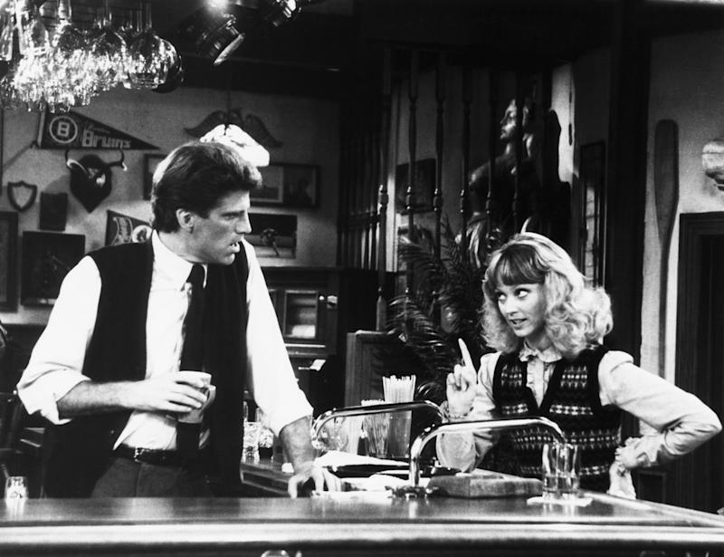 CHEERS, from left, Ted Danson, Shelley Long, 'The Coach Returns to Action,' aired November 25, 1982, 1982-93, ©NBC/Courtesy: Everett Collection | ©NBC/Courtesy Everett Collection—©NBC/Courtesy Everett Collection