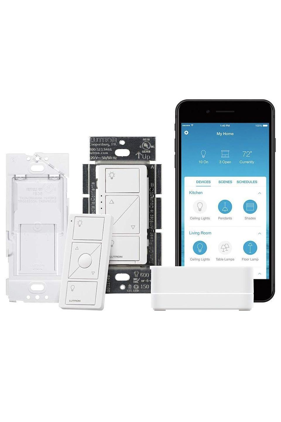"<p><strong>Lutron </strong></p><p>amazon.com</p><p><strong>$99.95</strong></p><p><a href=""https://www.amazon.com/dp/B07G5V6M6G?tag=syn-yahoo-20&ascsubtag=%5Bartid%7C10055.g.3950%5Bsrc%7Cyahoo-us"" rel=""nofollow noopener"" target=""_blank"" data-ylk=""slk:Shop Now"" class=""link rapid-noclick-resp"">Shop Now</a></p><p>With this smart lighting system by Lutron, dad can control the lights from anywhere with his smartphone, smartwatch, or voice control. That means he can turn lights off without moving an inch — or turn 'em on to give the impression that someone's home even when they're not. </p>"