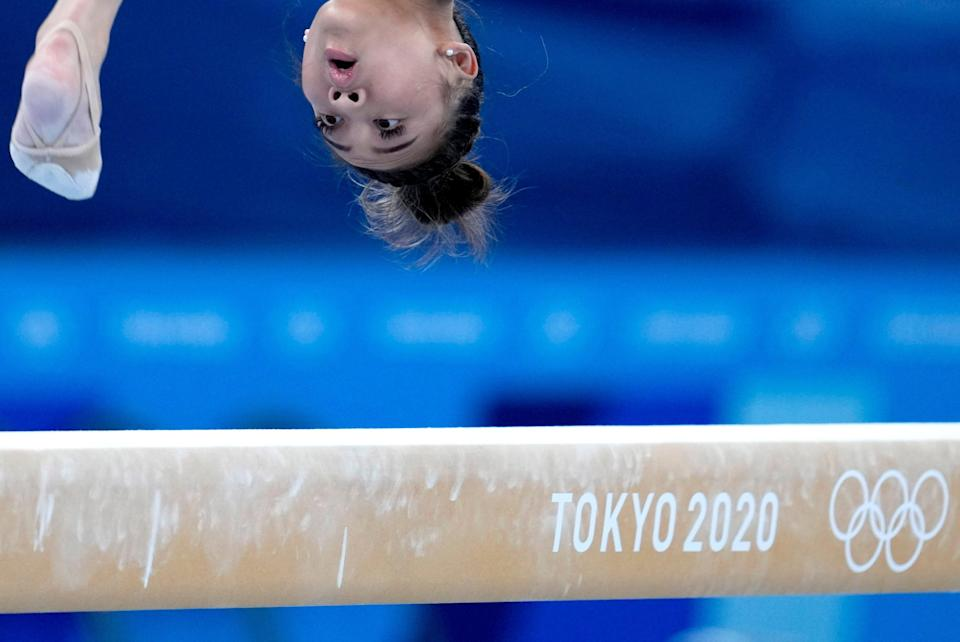 Sunisa Lee trains on the beam for the artistic gymnastics at Ariake Gymnastics Centre venue ahead of the 2020 Summer Olympics on Thursday, July 22, 2021, in Tokyo, Japan.
