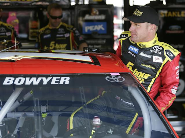 Clint Bowyer is back at the scene of the crime, err, race manipulation scandal