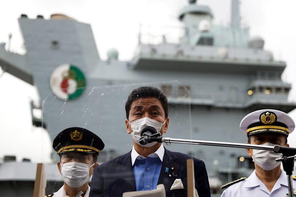 Japan's Defence Minister Inspects British Aircraft Carrier (Getty Images)