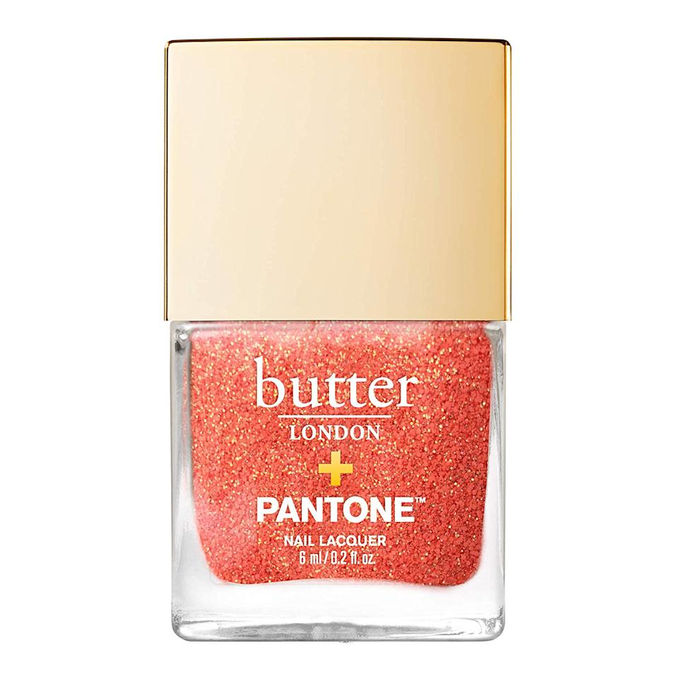 "<p>Any roundup of color trends would be incomplete without Pantone's Color of the Year, Living Coral. Butter London had the honor of releasing the official nail polishes for the pinkish-orange superstar shade, including this Glazen Peel-Off Glitter Nail Lacquer. It amps up coral with shimmering golden flecks, but if you're not into sparkling, don't worry — solid, non-glittery corals look just as lovely on toes.</p> <p><strong>$12</strong> (<a href=""https://shop-links.co/1682946903145166133"" rel=""nofollow"">Shop Now</a>)</p>"