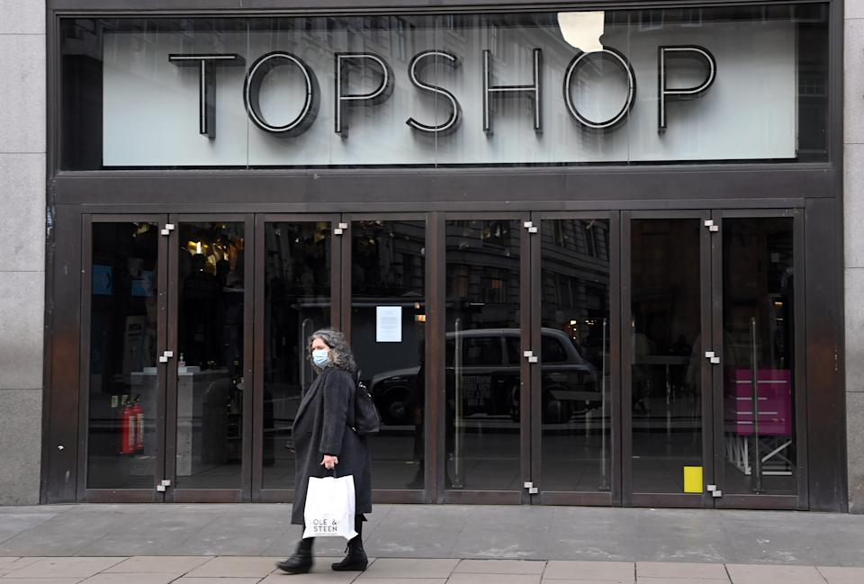 "LONDON, ENGLAND - NOVEMBER 27: A general view of Topshop's flagship store on Oxford Street today on November 27, 2020 in London, England. British fashion empire Arcadia, which owns Topshop stores, announced Friday it was evaluating several ""rescue options"" to save its brands after media reports suggested an imminent bankruptcy attributed to the coronavirus pandemic. Bankruptcy of the group, which has 13,000 employees and more than 500 stores, would be a thunderclap in British commerce, already hit hard by the health crisis and the rise in online shopping. (Photo by Karwai Tang/WireImage)"