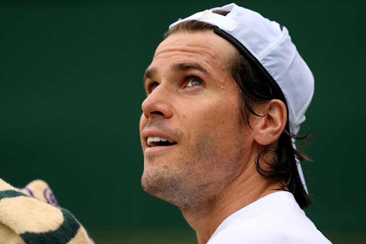 LONDON, ENGLAND - JUNE 28: Tommy Haas of Germany looks on during his Gentlemen's Singles second round match against Jimmy Wang of Taipei on day five of the Wimbledon Lawn Tennis Championships at the All England Lawn Tennis and Croquet Club on June 28, 2013 in London, England. (Photo by Clive Brunskill/Getty Images)