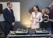 """<p>The couple paid a visit to the The Northern Sound System during their trip to Australia on 23 April 2014 and the Duchess of Cambridge was praised for her top DJ skills. William on the other hand was <a rel=""""nofollow noopener"""" href=""""https://www.standard.co.uk/news/world/cool-dudes-duke-and-duchess-of-cambridge-hit-the-decks-then-watch-bmx-show-in-australia-and-baby-9277208.html"""" target=""""_blank"""" data-ylk=""""slk:reportedly"""" class=""""link rapid-noclick-resp"""">reportedly</a> advised not to give up his day job. <em>[Photo: Getty]</em> </p>"""