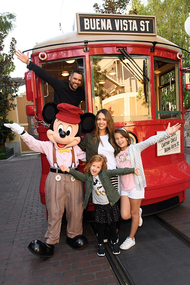 <p>The actress and her family, including her husband, Cash Warren, and their daughters, Honor, 8, and Haven, 5, met up with Mickey Mouse during a day at Disney's California Adventure Park. Look how grown-up the girls look! (Photo: Richard Harbaugh/Disneyland Resort) </p>
