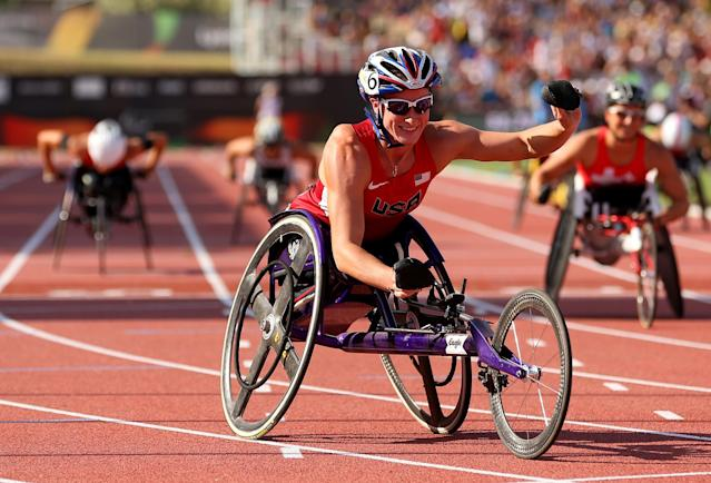LYON, FRANCE - JULY 27: Tatyana McFadden of USA celebrates winning in the Women's 400m T54 final during day eight of the IPC Athletics World Championships on July 27, 2013 in Lyon, France. (Photo by Julian Finney/Getty Images)