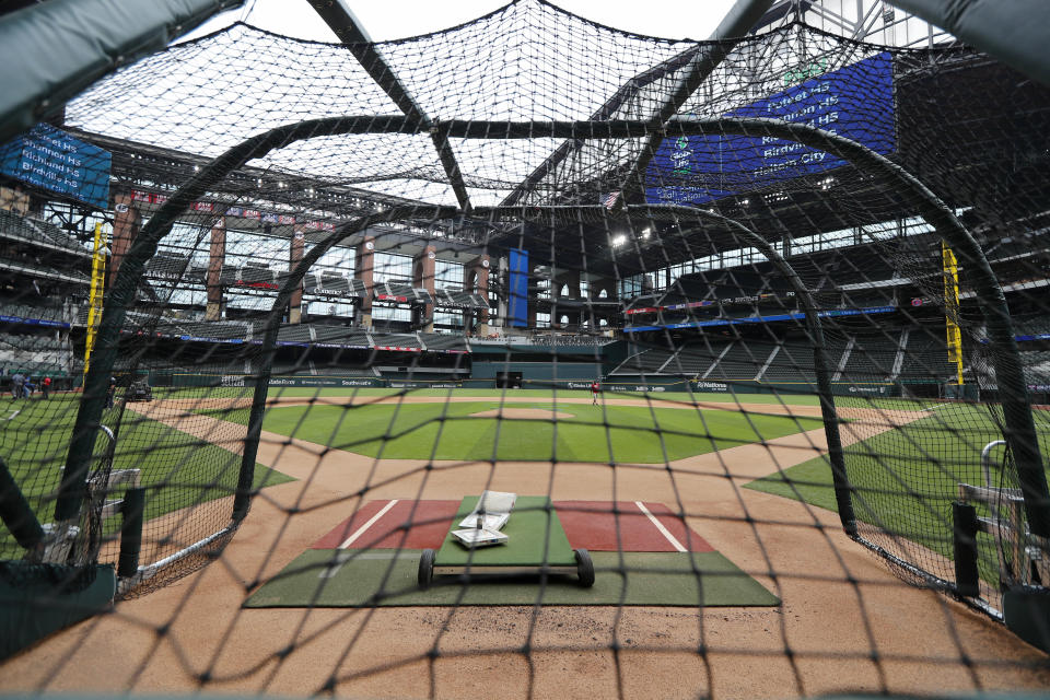 Globe Life Field, the newly built home of the Texas Rangers, in Arlington, Texas, Wednesday, May 20, 2020. The park that was suppose to have its home opener on March 31, against the Los Angeles Angels has yet to see one game played in it this season. (AP Photo/Tony Gutierrez)