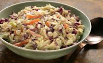 """<p>Hear us out – mayonnaise-based sides, like this creamy cabbage and carrot coleslaw, are technically among <a href=""""https://www.thedailymeal.com/eat/worst-cookout-foods?referrer=yahoo&category=beauty_food&include_utm=1&utm_medium=referral&utm_source=yahoo&utm_campaign=feed"""" rel=""""nofollow noopener"""" target=""""_blank"""" data-ylk=""""slk:the worst foods to bring to a cookout"""" class=""""link rapid-noclick-resp"""">the worst foods to bring to a cookout</a>. After all, sun and mayo do not mix. But if your barbecue is at a friend's house or you're cooking at home, this classic dish is worth serving – as long as you keep it indoors.</p> <p><a href=""""https://www.thedailymeal.com/best-recipes/creamy-tricolor-slaw?referrer=yahoo&category=beauty_food&include_utm=1&utm_medium=referral&utm_source=yahoo&utm_campaign=feed"""" rel=""""nofollow noopener"""" target=""""_blank"""" data-ylk=""""slk:For the Creamy Tricolor Slaw recipe, click here."""" class=""""link rapid-noclick-resp"""">For the Creamy Tricolor Slaw recipe, click here.</a></p>"""