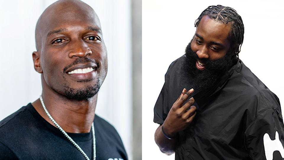 Seen here, NFL great Chad Johnson and NBA star James Harden.