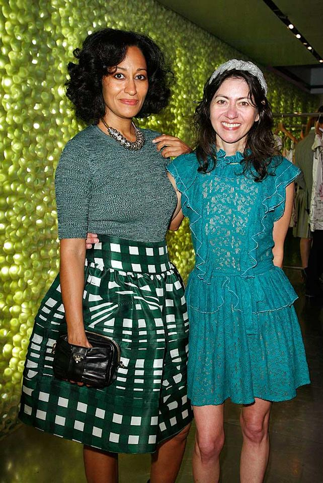 "Tracee Ellis Ross, star of ""Girlfriends"" and daughter of Diana Ross, poses in her Prada ensemble with designer Magda Berliner. Donato Sardella/<a href=""http://www.wireimage.com"" target=""new"">WireImage.com</a> - March 19, 2008"