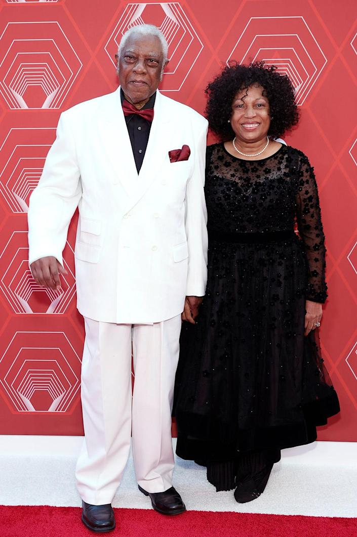 <p>Tony Honor recipient director Woodie King Jr. and his wife, Willie Mae Washington, smile on the red carpet. </p>