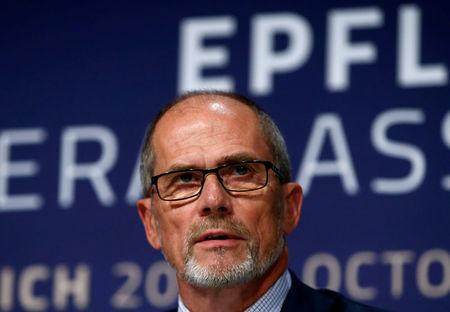 FILE PHOTO: Chairman Olsson addresses the media after a general assembly of EPFL in Zurich