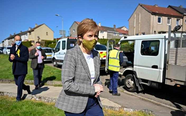 First Minister Nicola Sturgeon in Dumbarton, West Dunbartonshire - Jeff J Mitchell/PA