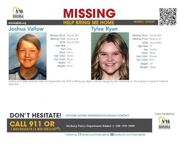 PHOTO: A flyer released by Rexburg Police Department shows Joshua Vallow, 7, and Tylee Ryan, 17, who authorities consider to be in danger. (Rexburg Police Department)