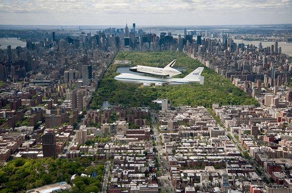 Using 52,914 LEGO bricks, Ed Diment will assemble a mosaic of this photograph showing Enterprise flying over Central Park in 2011.