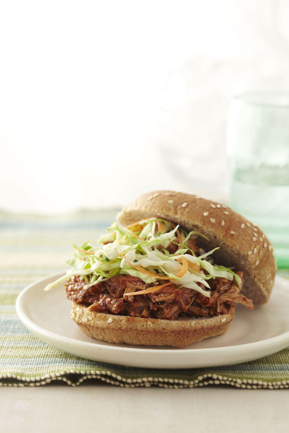 "<p>By swapping lean tenderloin for pork shoulder (and a few other ingredient substitutions), we cut the classic recipe's fat content by 88%. </p><p><a href=""https://www.goodhousekeeping.com/food-recipes/healthy/a14156/pulled-pork-sandwich-recipe-ghk0512/"" rel=""nofollow noopener"" target=""_blank"" data-ylk=""slk:Get the recipe for Healthy Makeover: Pulled Pork Sandwich »"" class=""link rapid-noclick-resp""><em>Get the recipe for Healthy Makeover: Pulled Pork Sandwich »</em></a></p>"