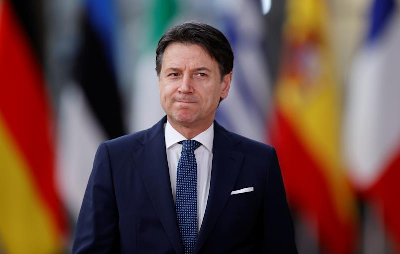Italian Prime Minister Giuseppe Conte arrives for the European Union leaders summit in Brussels, Belgium, February 20, 2020. REUTERS/Christian Hartmann
