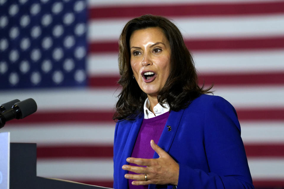 FILE - In this Oct. 16, 2020 file photo, Michigan Gov. Gretchen Whitmer speaks at Beech Woods Recreation Center, in Southfield, Mich. Whitmer and six other people who risked their own health and safety to help and protect others during the coronavirus pandemic will receive special Profile in Courage awards next month, the John F. Kennedy Library Foundation announced Tuesday, May 4, 2021. (AP Photo/Carolyn Kaster, File)