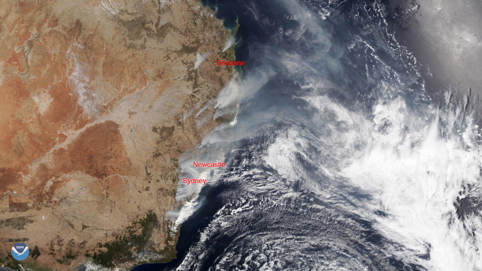 A satellite image showing wildfires burning near the coast of New South Wales and areas north to the border with Queensland.