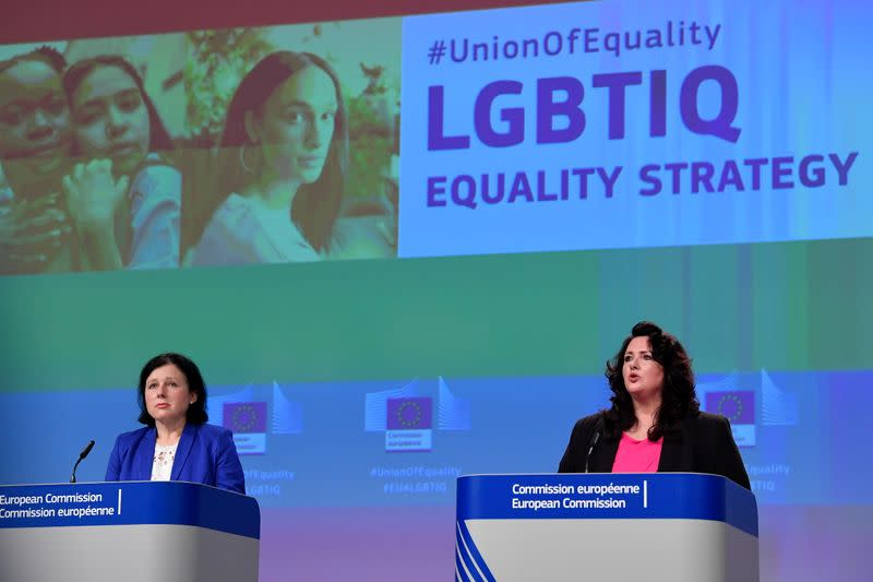 News conference on EU bloc's strategy on equality and LGBTI+ in Brussels