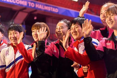 South Korean and North Korean teams receive standing ovations after deciding to form a unified Korean team for the upcoming semi-finals at the World Team Table Tennis Championships 2018, at Halmstad Arena in Halmstad, Sweden May 3, 2018. TT News Agency/Jonas Ekstromer/via REUTERS