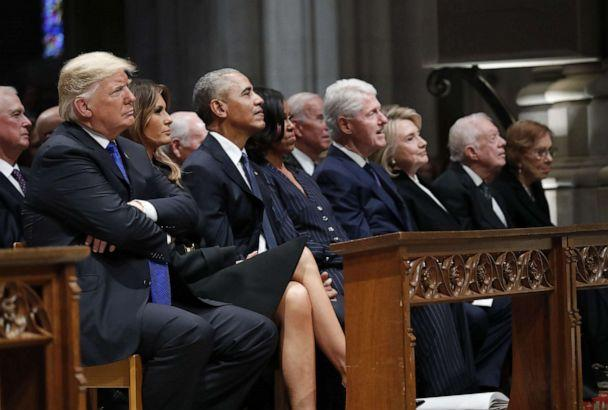 President Donald Trump,left,first Lady Melania Trump,former President Barack Obama,former first lady Michelle Obama,former President Bill Clinton,Hillary Clinton,former Secretary of State,former President Jimmy Carter,former first lady Rosalynn Carter. (Bloomberg via Getty Images)