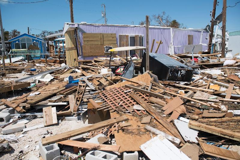 Residents estimate that Irma destroyed three-quarters of homes at the Seabreeze Trailer Park in Islamorada, in the Florida Keys (AFP Photo/SAUL LOEB)