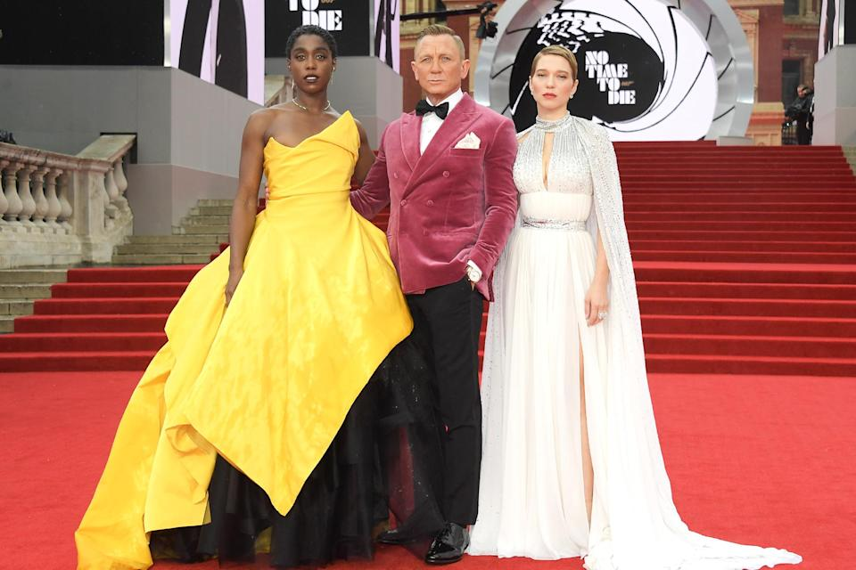 """<p>It's good to see you, Mr. Bond. After a long delay due to the COVID-19 pandemic, the world is finally about to see <a href=""""https://ew.com/creative-work/no-time-to-die/"""" rel=""""nofollow noopener"""" target=""""_blank"""" data-ylk=""""slk:No Time to Die,"""" class=""""link rapid-noclick-resp""""><em>No Time to Die</em>,</a> the 25th film in the James Bond franchise and <a href=""""https://ew.com/tag/daniel-craig/"""" rel=""""nofollow noopener"""" target=""""_blank"""" data-ylk=""""slk:Daniel Craig"""" class=""""link rapid-noclick-resp"""">Daniel Craig</a>'s final turn as the iconic superspy. </p> <p>To mark the film's arrival (it hits theaters in the U.K. on Thursday, and in the U.S. on Oct. 8), Craig and his costars hit the red carpet in London for the film's world premiere. Shake, don't stir, your way through more photos ahead.</p>"""