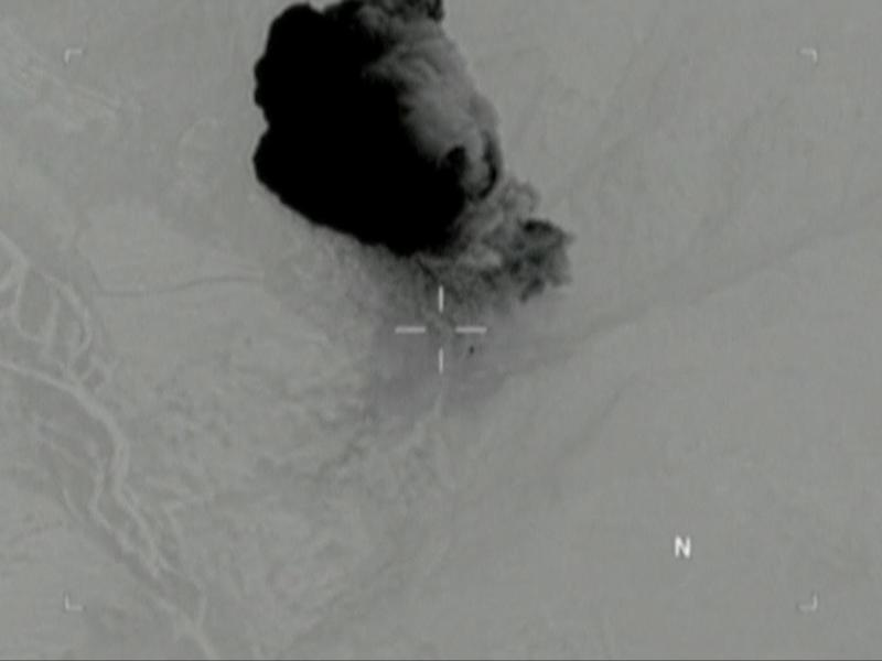 Still image from a video released by the US Department of Defence shows the moment the 'mother of all bombs' struck in Nangarhar (Reuters)